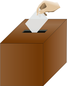 clipart image of a brown ballot box, with a white envelope being posted