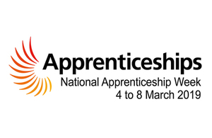 Apprenticeships Week Logo including the dates of 4th to 8th March 2018