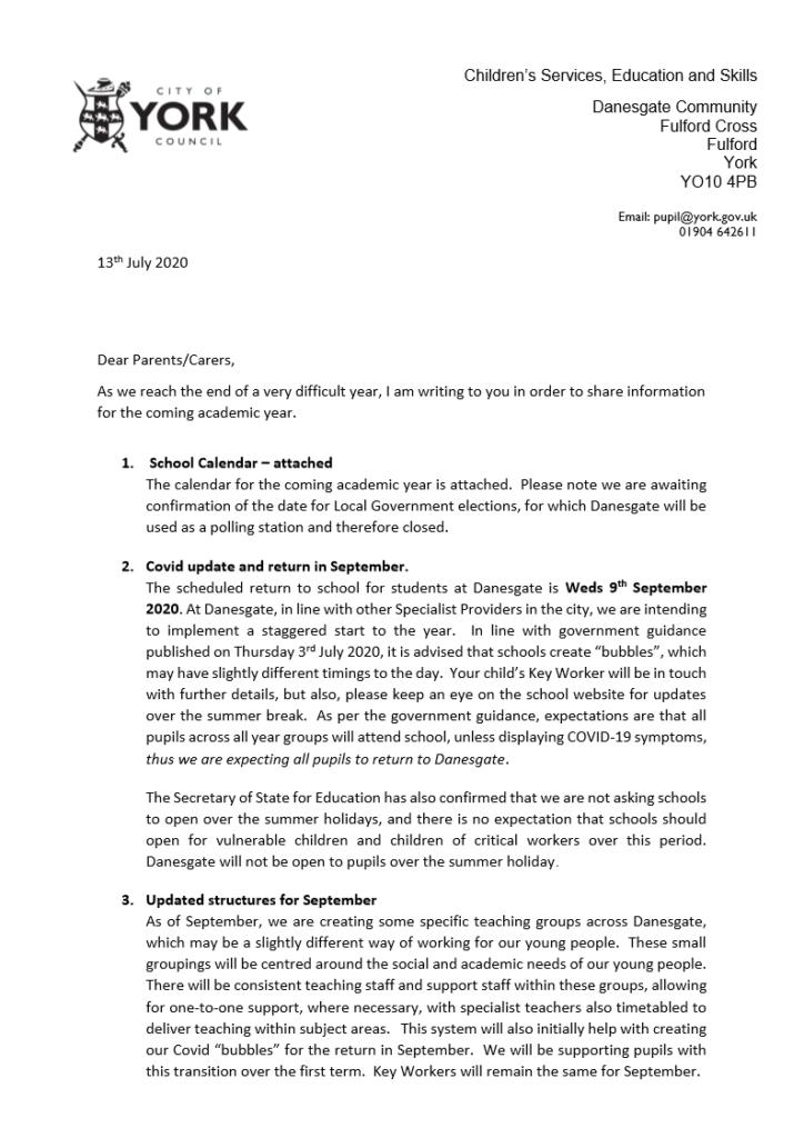 screenshot of linked letter